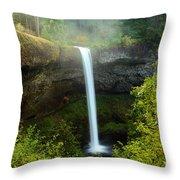 Fog Over The Falls Throw Pillow