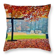 Foggy Autumn Cemetery Throw Pillow