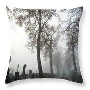 Foggy Cemetery Throw Pillow