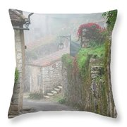 Foggy Lane In St Cirq Throw Pillow