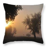 Foggy Morn Street Throw Pillow