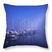Foggy Morning At A Marina Throw Pillow