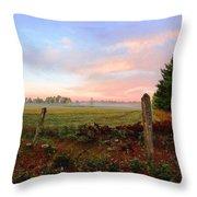 Foggy Morning Field Throw Pillow