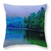 Foggy Mountain Pond Throw Pillow