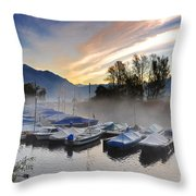 Foggy Port In Sunrise Throw Pillow