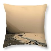 Foggy Shores Throw Pillow