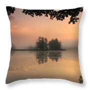 Foggy Summer Sunrise At Harvard Pond Throw Pillow