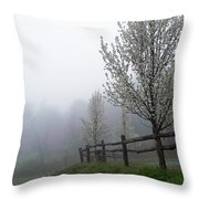 Foggy Trees In The Valley Throw Pillow