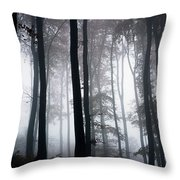 Foggy Woods Ireland Throw Pillow