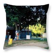 Folk Art Yard And Tree Throw Pillow