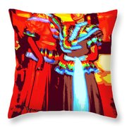 Folklorico Dancers Throw Pillow by Randall Weidner