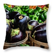 Food - Farm Fresh - Eggplant And Peppers Throw Pillow