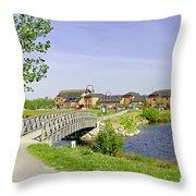Foot-bridge And Lake - Barton Marina Throw Pillow