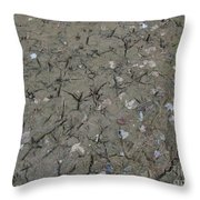Foot Prints In The Mud Throw Pillow