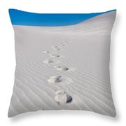 Foot Prints In White Sands 2 Throw Pillow