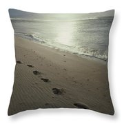 Footprints In The Sand On A Beach Throw Pillow