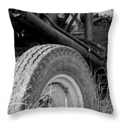 Ford Tractor Details In Black And White Throw Pillow