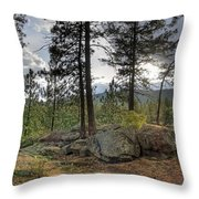 Forest Boulder Formation Near Red Lake Washington Throw Pillow
