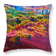 Forest Color Leaves Throw Pillow
