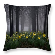 Forest Daffodils Throw Pillow