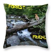 Forest Friends Sharing A Log Over A Creek On Mt Spokane Throw Pillow