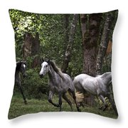 Forest Mares Throw Pillow