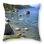 Forested Shores Of Lake Tahoe Throw Pillow