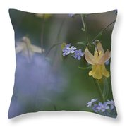 Forget-me-not And Yellow Columbine Throw Pillow