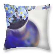 Forget Me Nots In Deep Blue Vase Throw Pillow