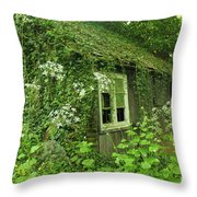 The Forgotten English Cottage Throw Pillow