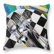 Forks On Checker Plate Throw Pillow
