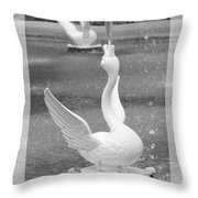Forsyth Fountain - Black And White 3 Throw Pillow