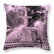 Forsyth Park Fountain In Pink Throw Pillow