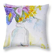 Forsythia And Ghost Daisies Throw Pillow