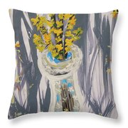 Forsythia In Old Clear Vase Mary Carol Throw Pillow