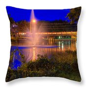 Fountain And Bridge At Night Throw Pillow