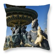 Fountain At Place De La Concorde. Paris. France Throw Pillow