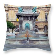 Fountain In Arles France Throw Pillow