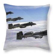 Four A-10 Thunderbolt IIs Fly Throw Pillow