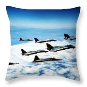 Four F-14 Tomcats And Three F-5 Tiger Throw Pillow