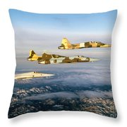Four F-5 Tiger IIs Fly Above Southern Throw Pillow