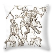 Four Mad Cowboys Of The Apocalypse Throw Pillow