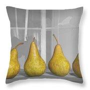 Four Pears On Windowsill Throw Pillow