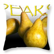 Four Pears With Yellow Lettering Throw Pillow