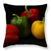 Four Peppers Throw Pillow