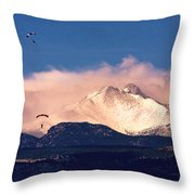 Four Skydivers With Longs Peak And Mount Meeker Rocky Mountain H Throw Pillow