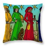 Four Temperaments, Medieval Woodcut Throw Pillow