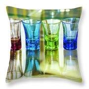 Four Vodka Glasses Throw Pillow