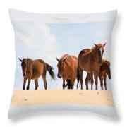 Four Wild Mustangs Throw Pillow