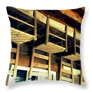 Four Wooden Chairs Throw Pillow